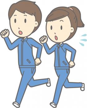 ジョギング、ランニングをする男女