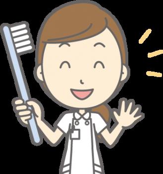 歯科衛生士と歯ブラシ
