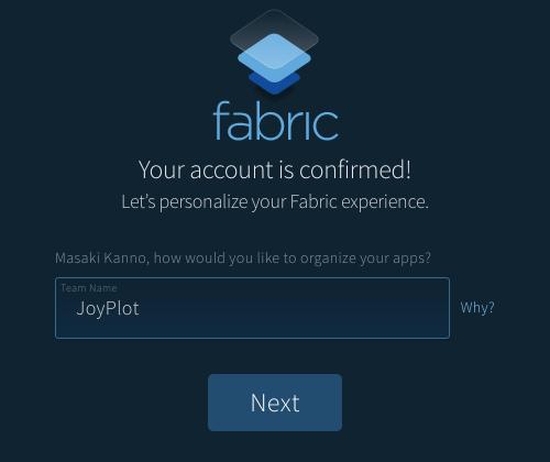 Fabricでチーム名を設定