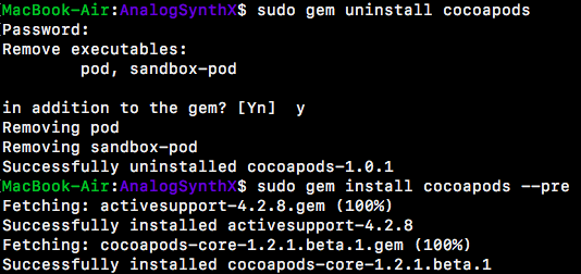 gemにcocoapodsを再インストール