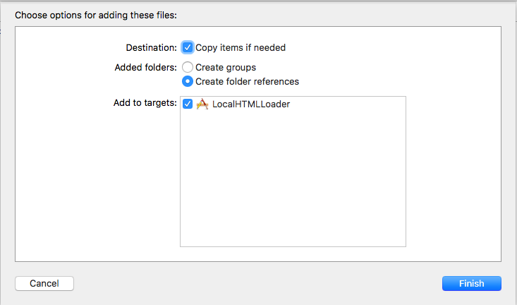 create folder references にチェックを入れてフォルダをプロジェクトに追加
