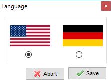 言語の選択ダイアログ