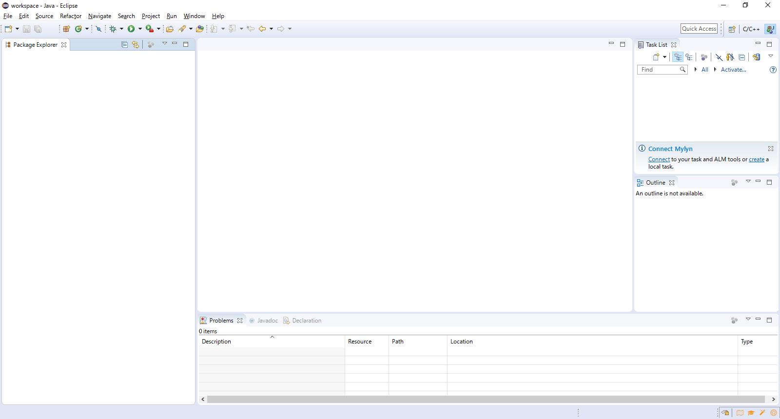 Eclipseの開発作業画面