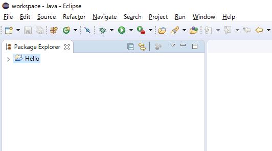 新しく作ったプロジェクトが Package Explorer に表示される