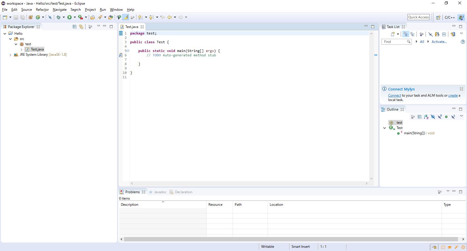mainブロックなどが書かれたjavaソースコードの雛形
