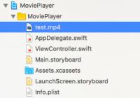 Xcodeのナビゲーションバーに表示されたファイル