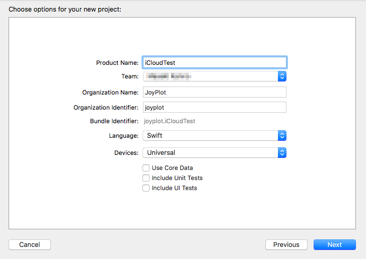 Xcodeのプロジェクト作成画面