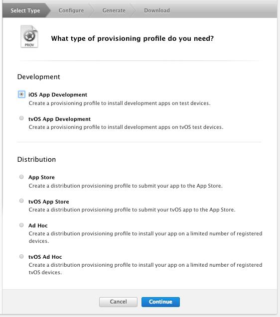 Provisioning Profile の種類を選択