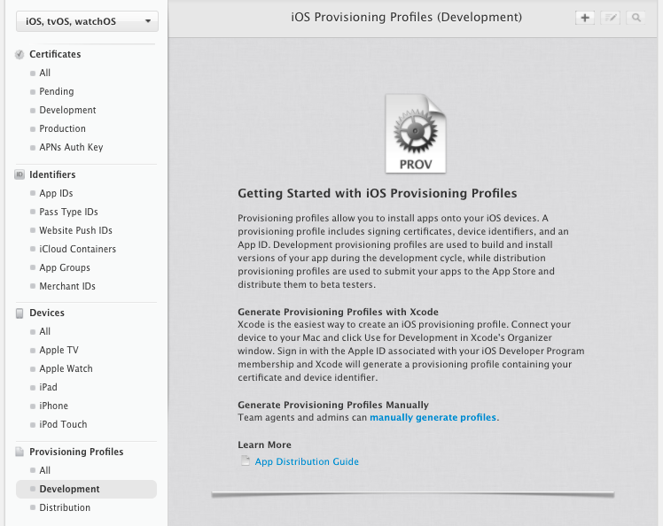 Provisioning Profiles の作成画面