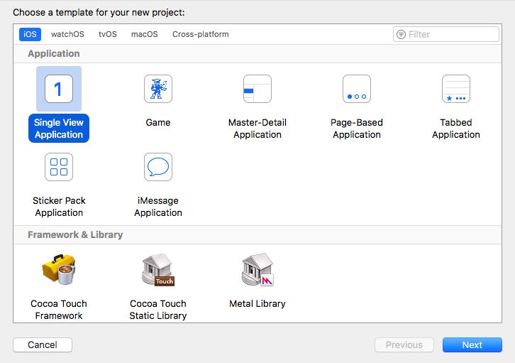 Xcodeのプロジェクトテンプレート