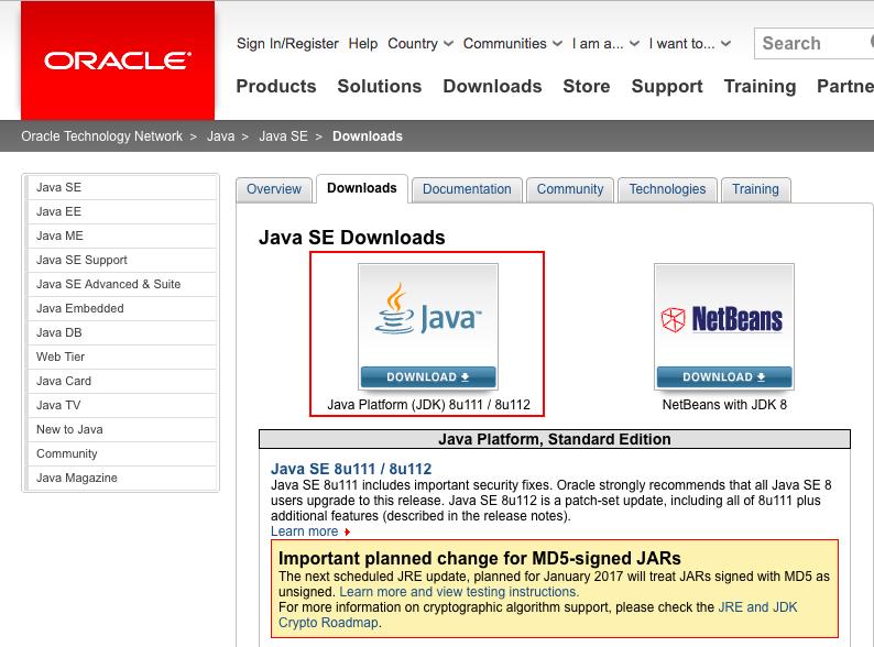 JDKのダウンロードページ
