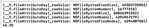 attributesOfFileSystemの中身と空き容量