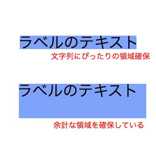 UIViewでSizeToFitした場合とそうでない場合の比較