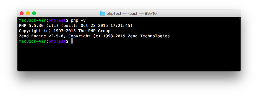 php -v でPHPのバージョンを確認