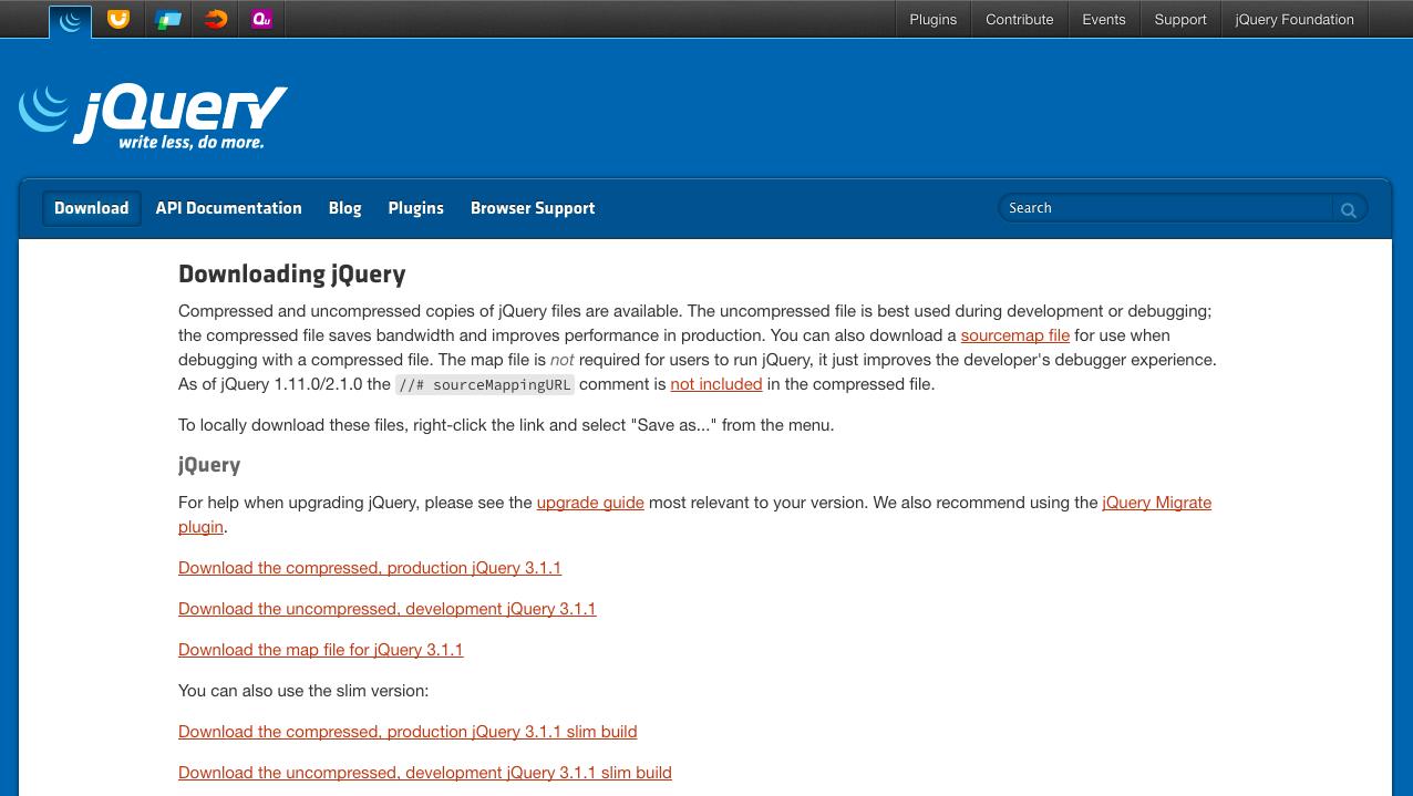 jQueryのダウンロード形式を選択