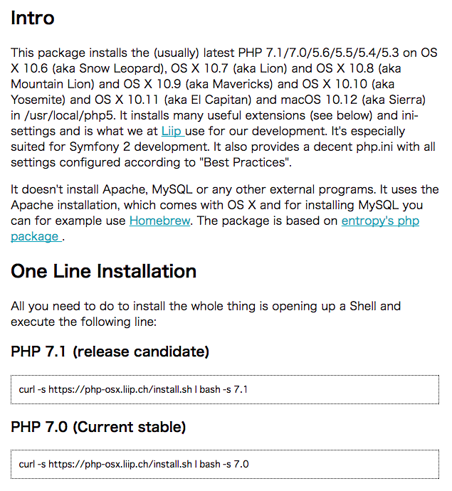 PHP 5.3 to 7.1 for OS X / macOS