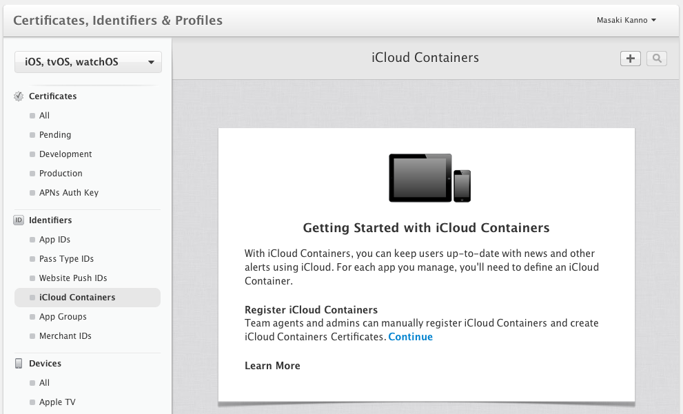 iCloud Containers のメニュー