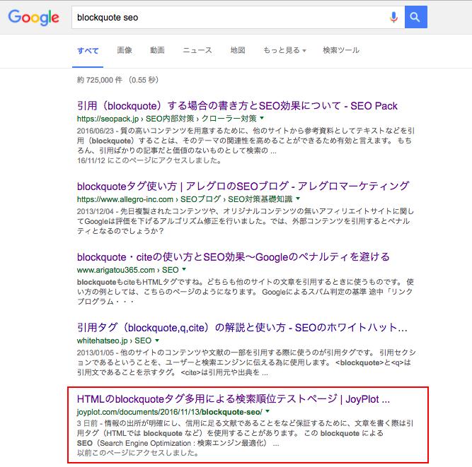 Google検索で5位に浮上したblockquoteテストページ