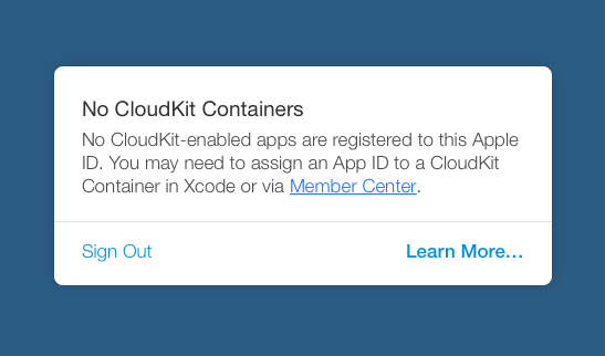 iCloud Container が無いという警告
