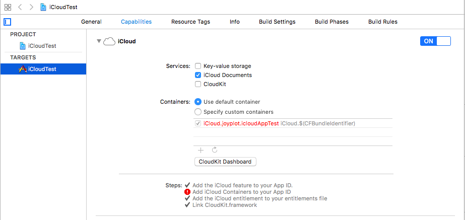 Add iCloud Containers to your App ID というエラーが出る