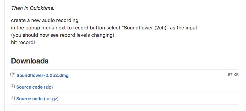 Soundflowerのdmgをダウンロード