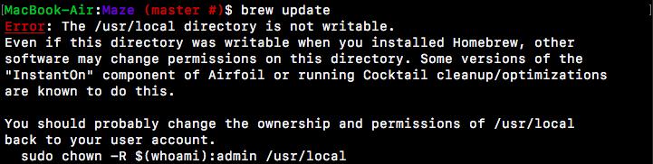 Homebrew の update コマンドで出るエラー