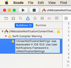 UIUserNotificationSettings が非推奨になったという警告