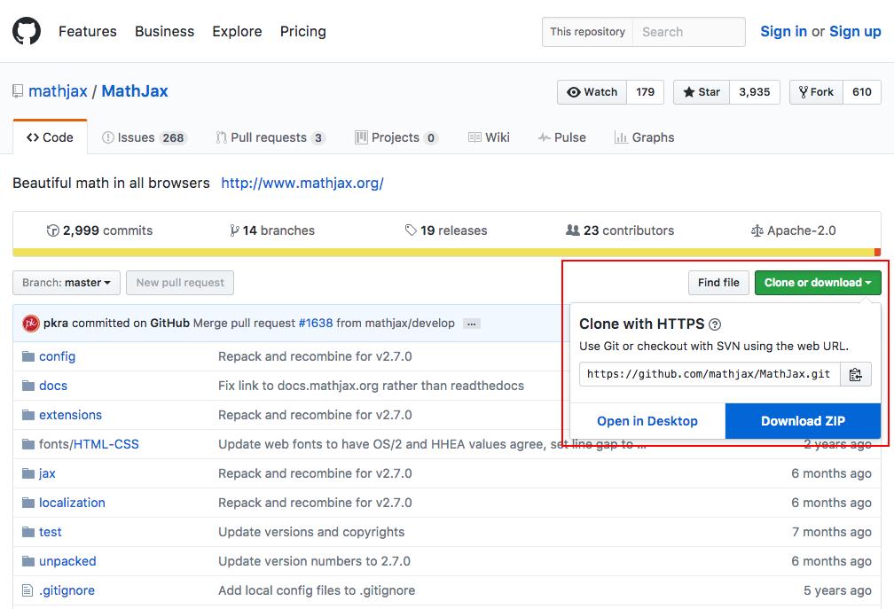 GitHubからMathJaxのライブラリ本体をZIPでダウンロード