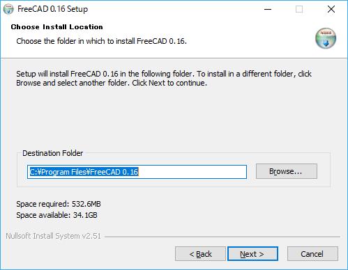 FreeCADのインストール先の指定