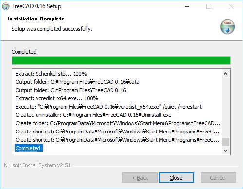 FreeCADのインストール完了