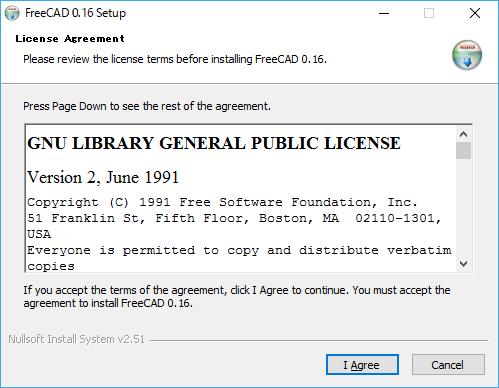 FreeCADのインストール画面