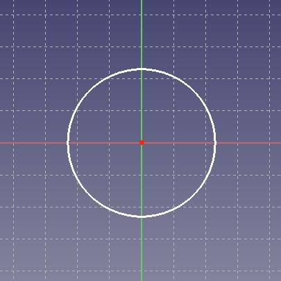 一致拘束をかけたスケッチの原点と円の中心点