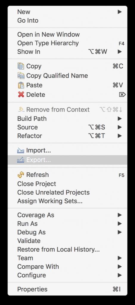 Eclipseプロジェクトをエクスポート
