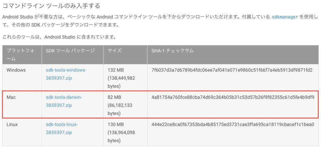Android Studio のコマンドラインツールのみをダウンロード