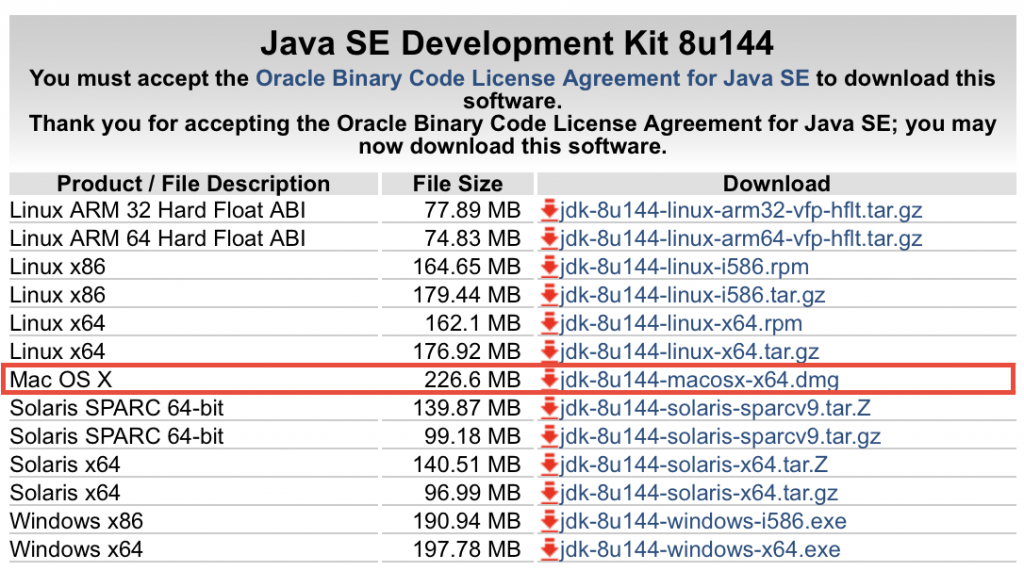 macOS用のJDKインストーラをダウンロード