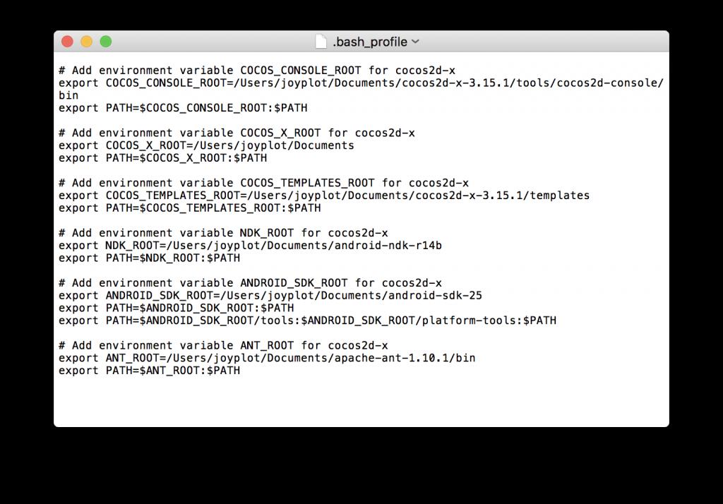 Cocos2d-xのセットアップによって追加された .bash_profile の中身