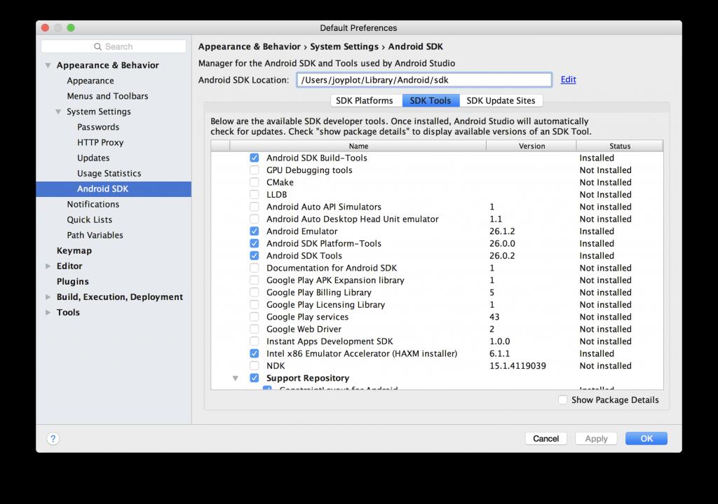 Android Studio の SDK Manager の画面
