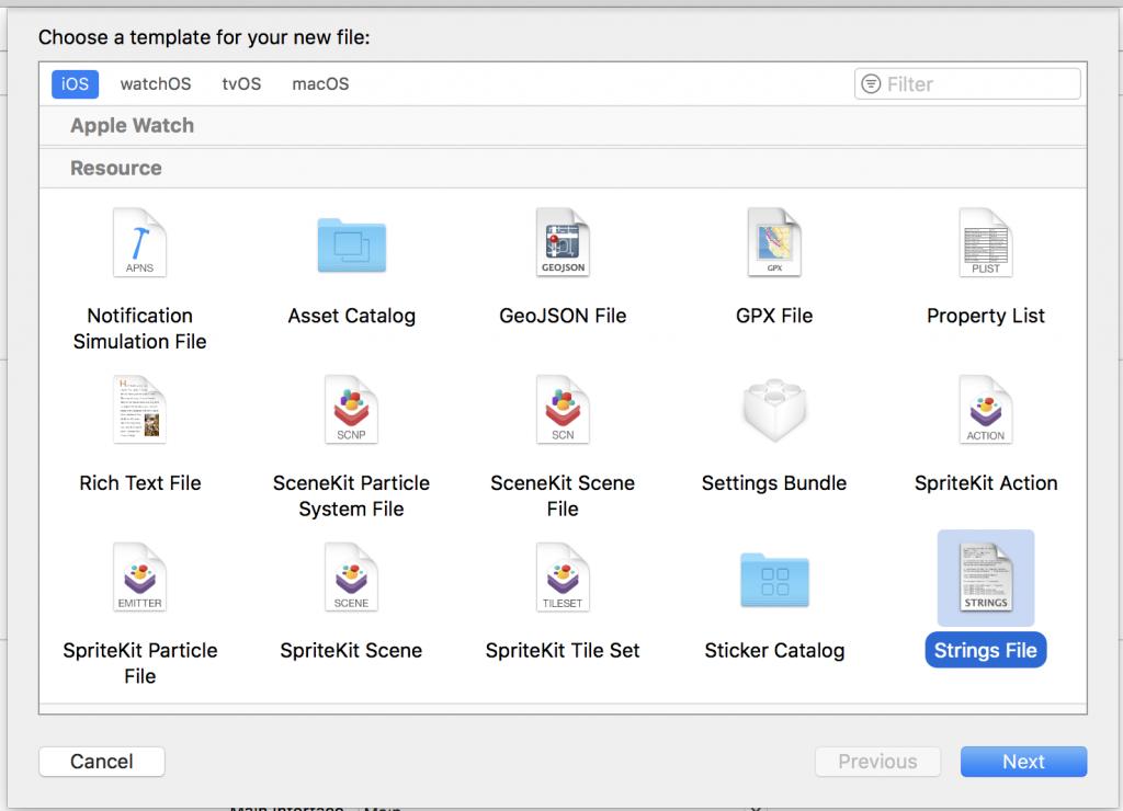 XcodeでStringsファイルを作成する