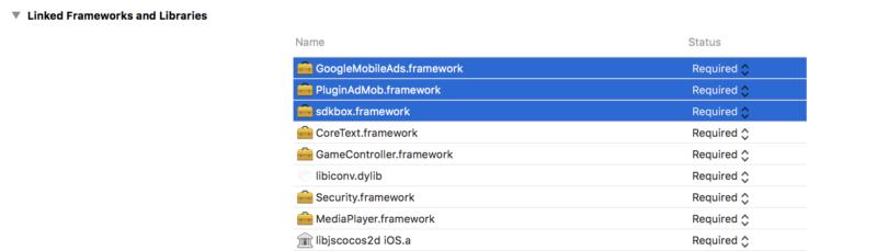iOS端末でSDKBOXによる広告表示に必要なフレームワーク