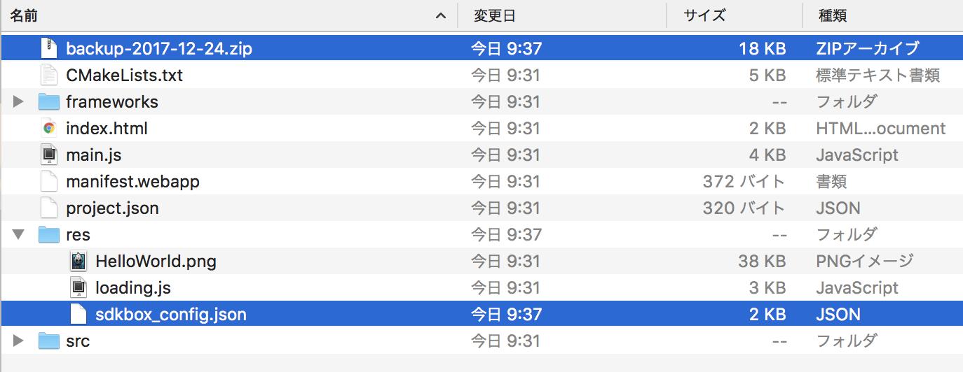 SDKBOXによって自動生成されたファイル