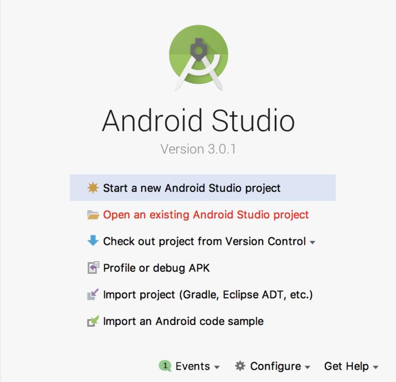 Androidの開発プロジェクトを新規作成