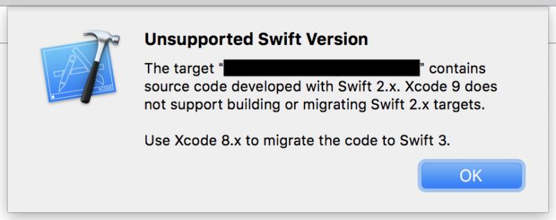 Xcode9でswift2.xのプロジェクトを開いた時の警告