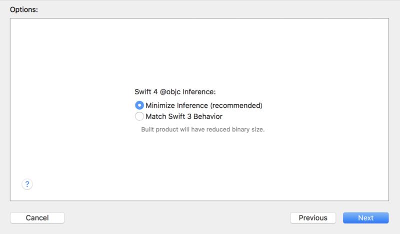 Swift4へ変換する際の変換オプション