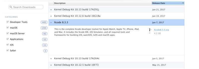 appleのサイトからXcode8.3.3をダウンロード