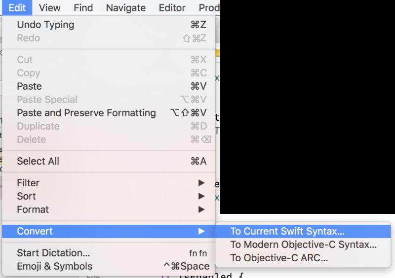 Swiftのバージョンを自動更新するメニュー項目