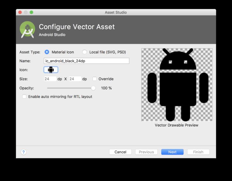 VectorAssetを追加するウィンドウ