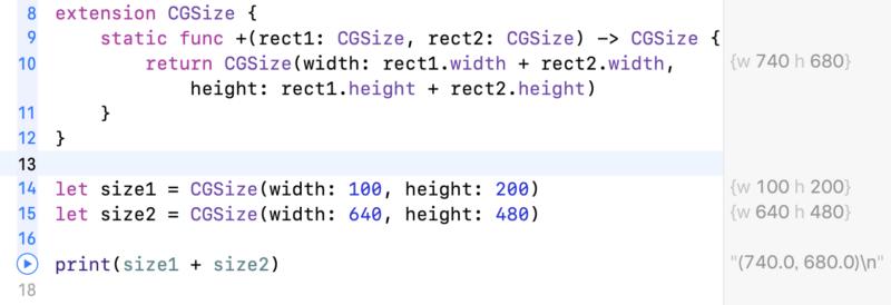 演算子のオーバーロードによるCGSizeの加算
