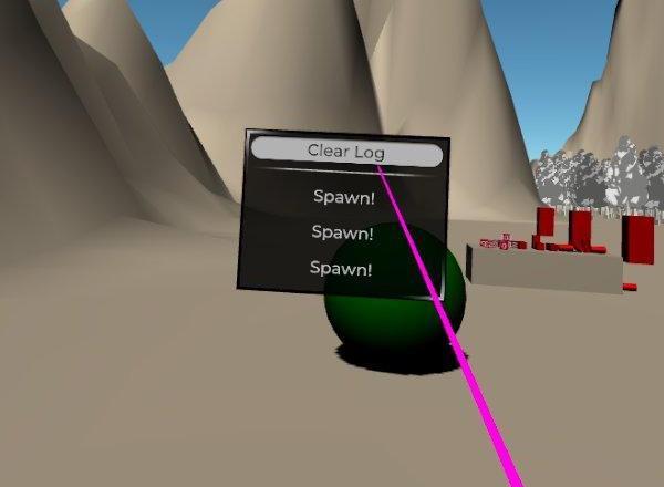 VR空間内のUIボタンでログを消去
