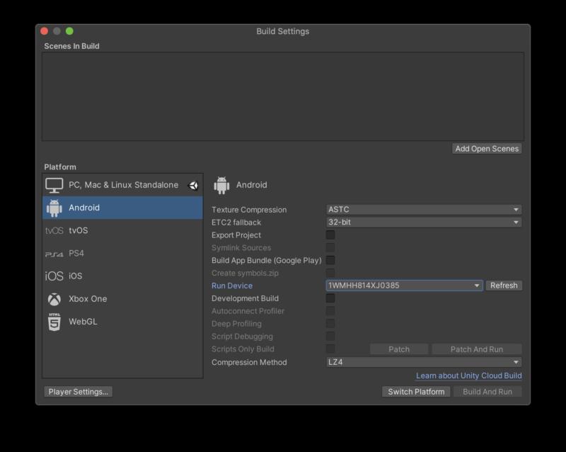 Build Setting からOculus端末を洗濯