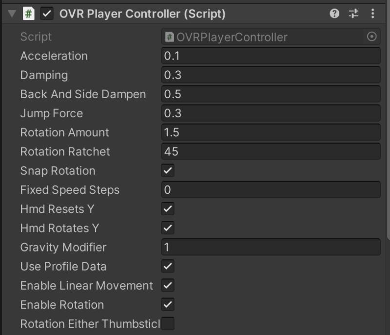 OVRPlayerControllerのプロパティ